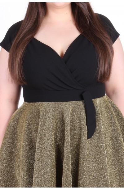 GLAM czarno-złota sukienka