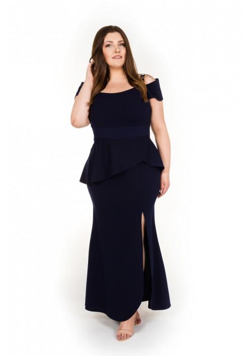 bf55e6dce19e12 SALMA NAVY elegancka sukienka dla puszystych rozmiary od 42 do 62