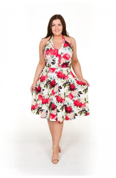 HAWAI Letnia sukienka w kwiaty z odkrytymi plecami