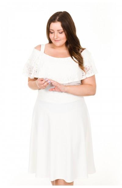AMELIA WHITE biała sukienka z koronką