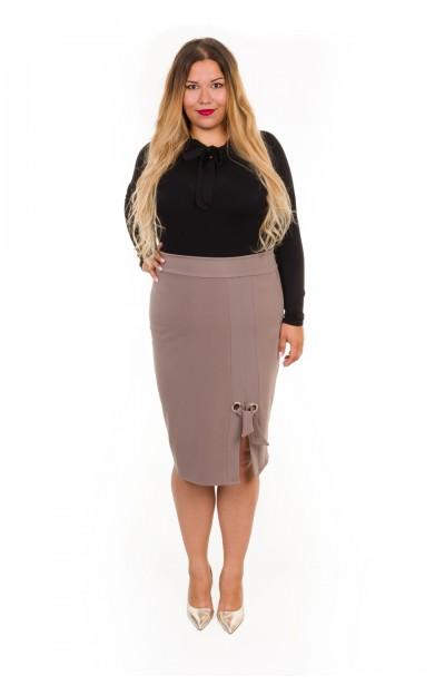 LUNA BEIGE biurowa spódnica plus size