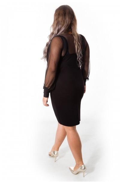 BUFFY czarna sukienka z długimi rękawami