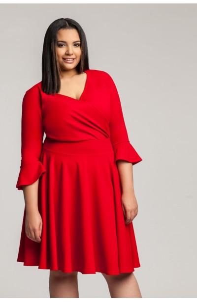 50beba3b1d ZOE RED wizytowa sukienka plus size z falbaną