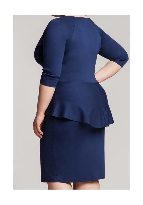 DIANE II NAVY elegancka sukienka z baskinką