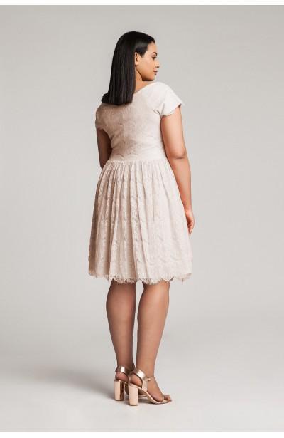 PERLA BEIGE koronkowa sukienka plus size