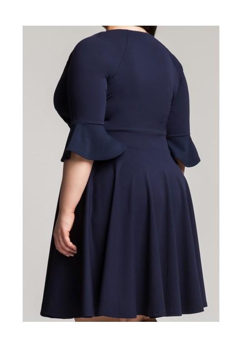 ZOE NAVY wizytowa sukienka plus size z falbaną