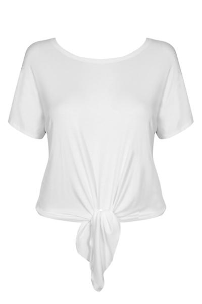 MIAMI WHITE modny t-shirt z wiązaniem