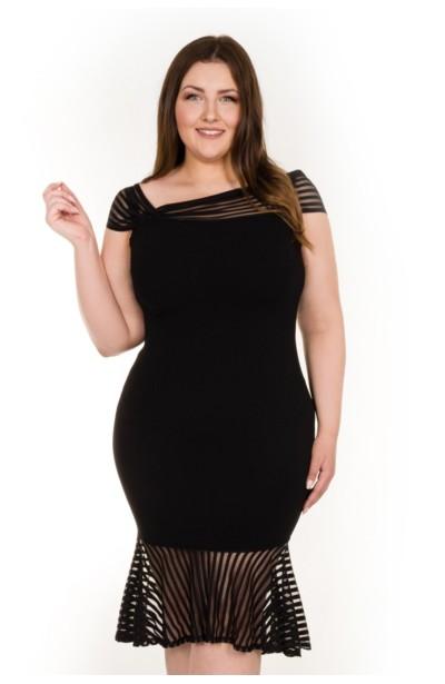 ASHLEY czarna taliowana sukienka