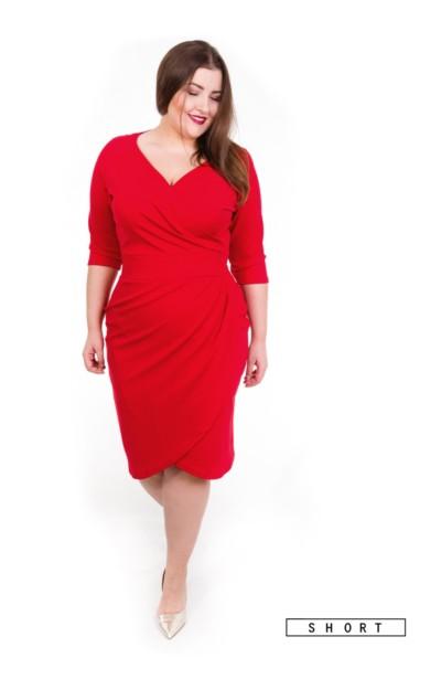 MONIQUE RED SHORT dopasowana sukienka plus size