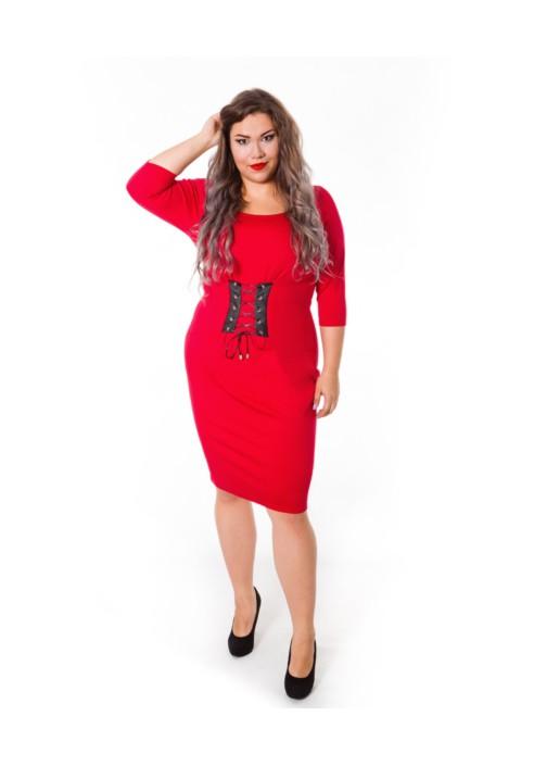 ELSA RED sukienka z gorsetowym wiązaniem