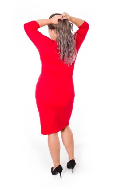 ELSA RED taliowana sukienka plus size