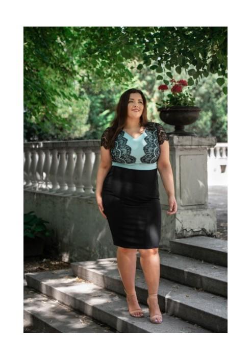 TESSA MINT elegancka sukienka z koronką