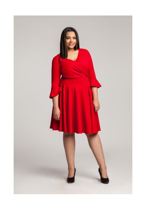 ZOE RED wizytowa sukienka z falbaną