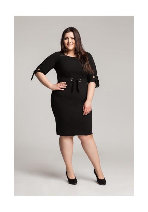 SHELBY BLACK modna taliowana sukienka plus size