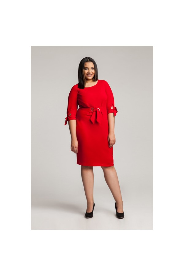 SHELBY RED modna taliowana sukienka plus size