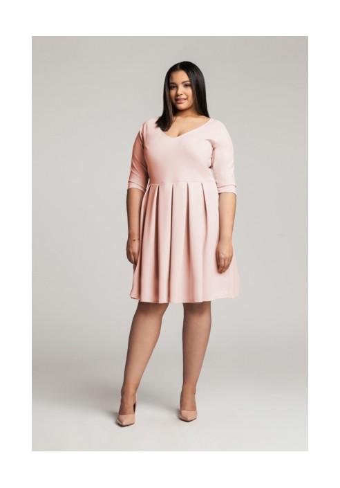 ROSA PEACH rozkloszowana sukienka plus size