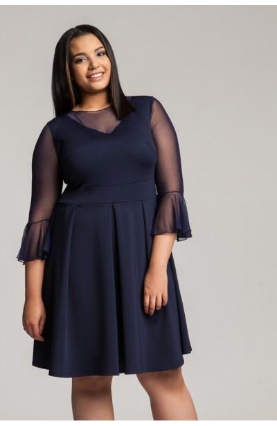 NEVINA NAVY sukienka z siateczką