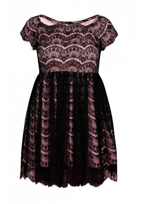 PERLA II PINK rozkloszowana koronkowa sukienka