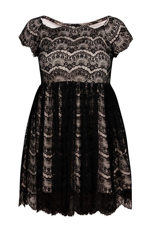 PERLA II ECRU rozkloszowana koronkowa sukienka