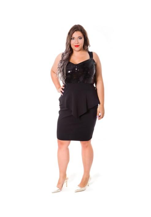 0836b35b3d HOLLY BLACK sukienka z baskinką w rozmiarach XXL - 20inlove