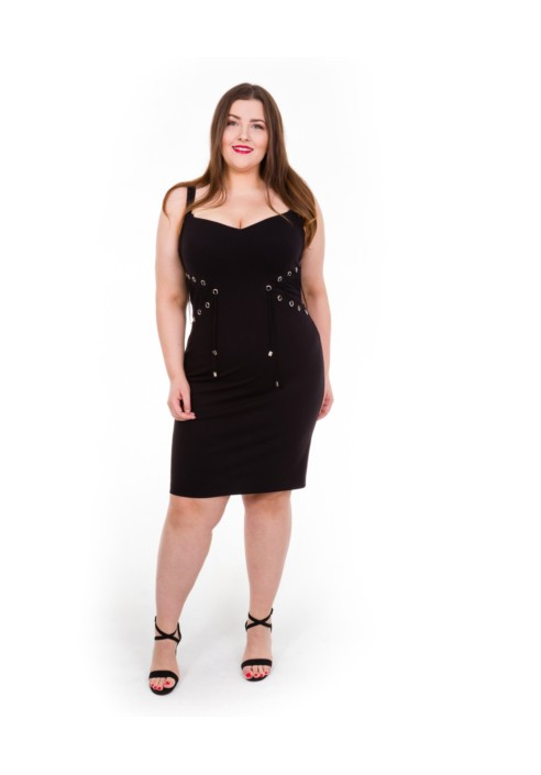 AGNES BLACK sukienka plus size na ramiączkach