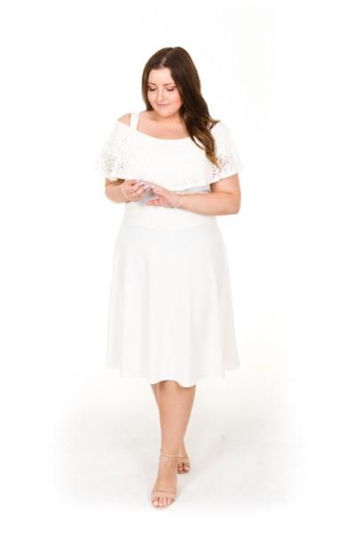 AMELIA WHITE czarna sukienka z koronką