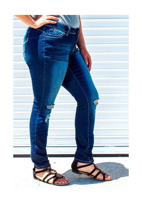 Ciemne jeansy z dziurami