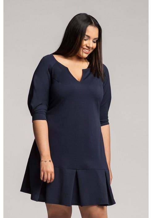 WENDY NAVY trapezowa sukienka plus size
