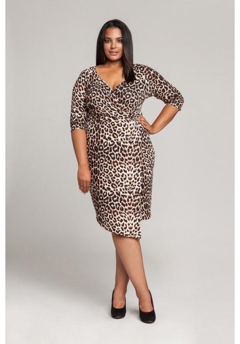 CHITA asymetryczna sukienka plus size w cętki