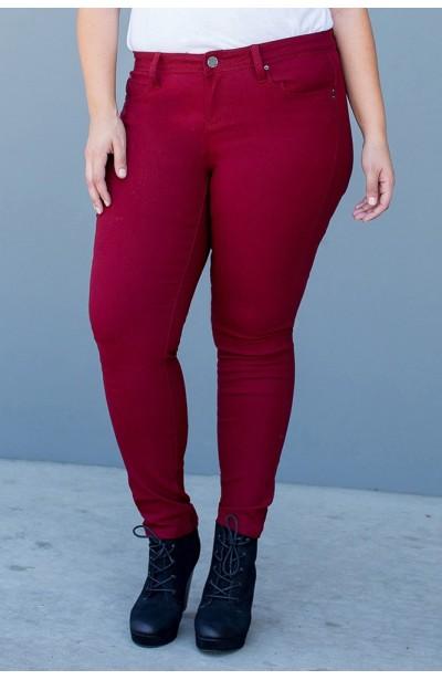 Spodnie rurki, bordowe