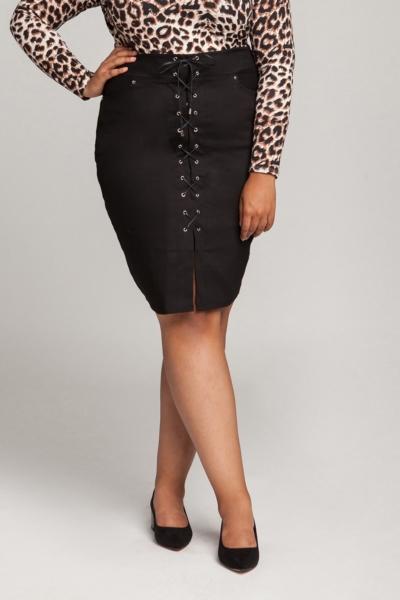 Ogromny ROSIE BLACK sznurowana spódnica plus size KN68
