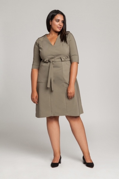 GABI KHAKI minimalistyczna sukienka plus size