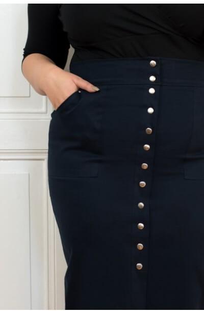 DEBBIE NAVY długa spódnica plus size z guzikami