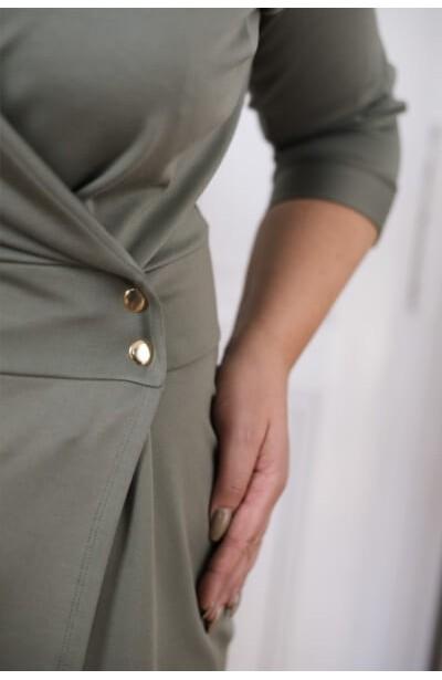 BRUNA KHAKI modna szmizjerka plus size z guzikami