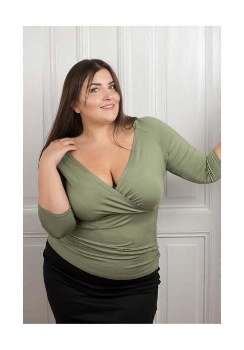TIA KHAKI bluzka plus size z kopertowym dekoltem