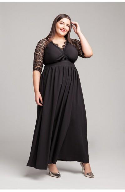 ZELDA BLACK wieczorowa suknia plus size z koronką