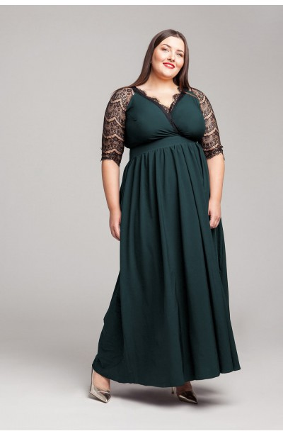ZELDA GREEN wieczorowa suknia plus size z koronką