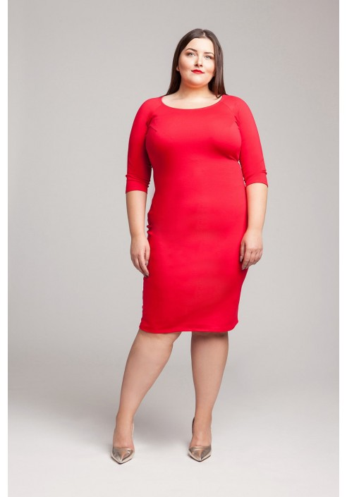 SIMPLE U RED ołówkowa sukienka plus size