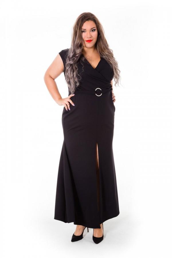 KRYSTAL BLACK wizytowa suknia plus size z paskiem
