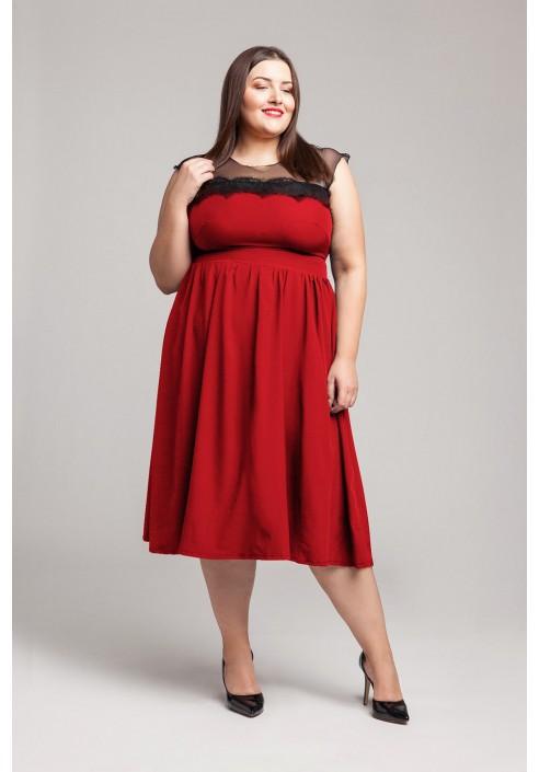 SABRINA RED rozkloszowana sukienka plus size