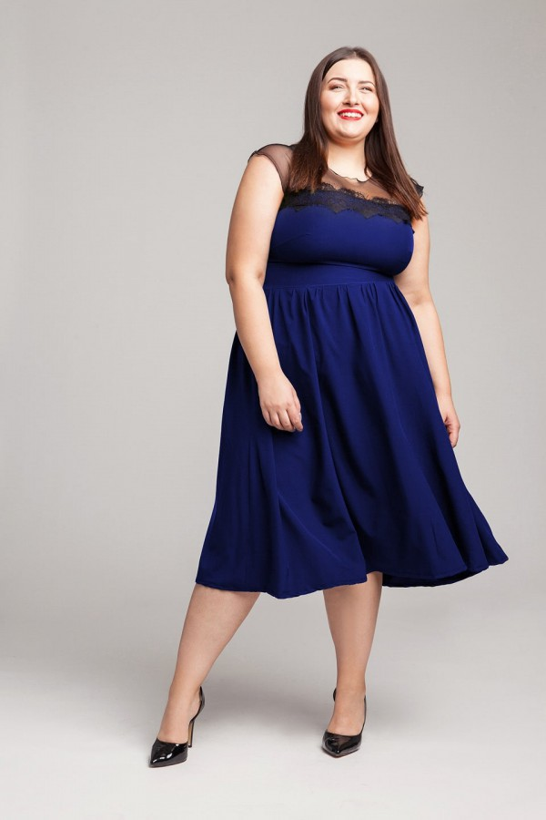 SABRINA BLUE chabrowa sukienka plus size