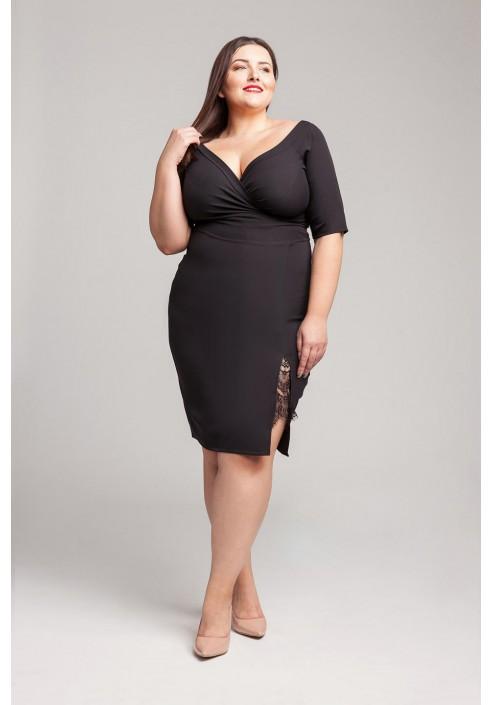 SATIN BLACK ołówkowa sukienka plus size z koronką
