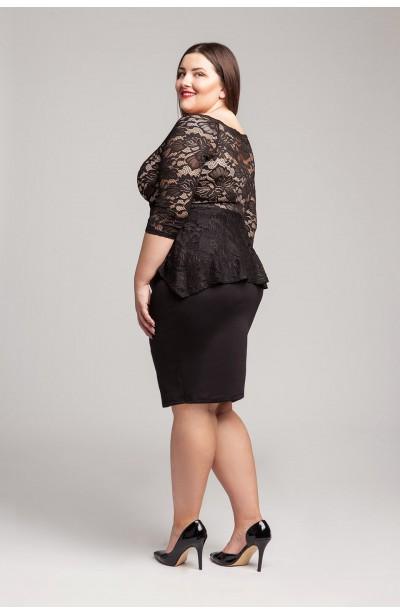 QUINN BLACK elegancka sukienka plus size z koronką