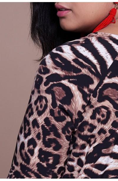LISA zwiewna tunika plus size w cętki