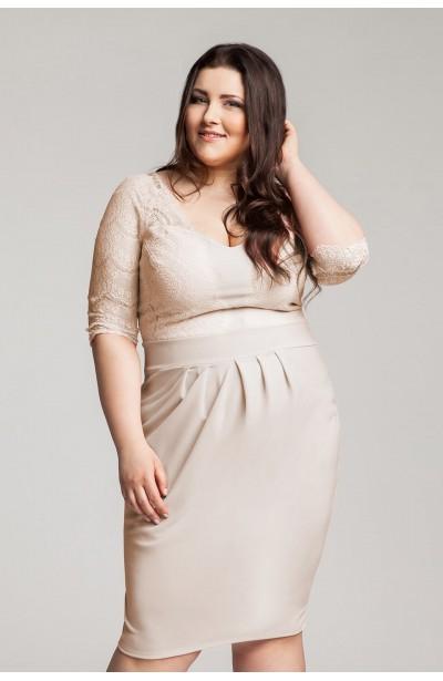 CARMEN BEIGE romantyczna sukienka z koronką