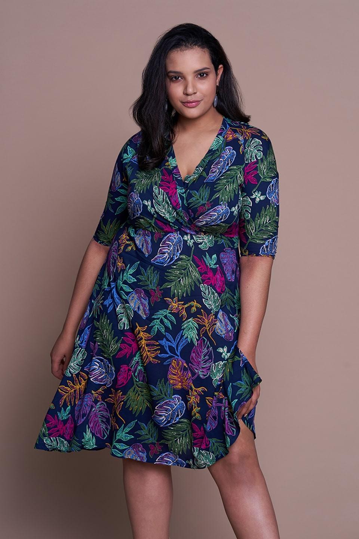 VALERY sukienka plus size z botanicznym motywem