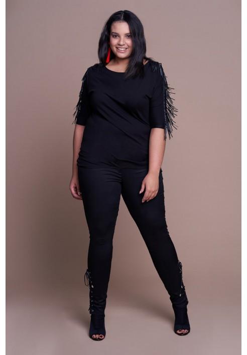 LUCKY BLACK modne spodnie plus size z wiązaniem