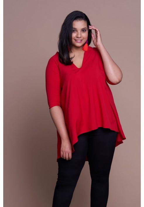 MANDY RED asymetryczna tunika plus size