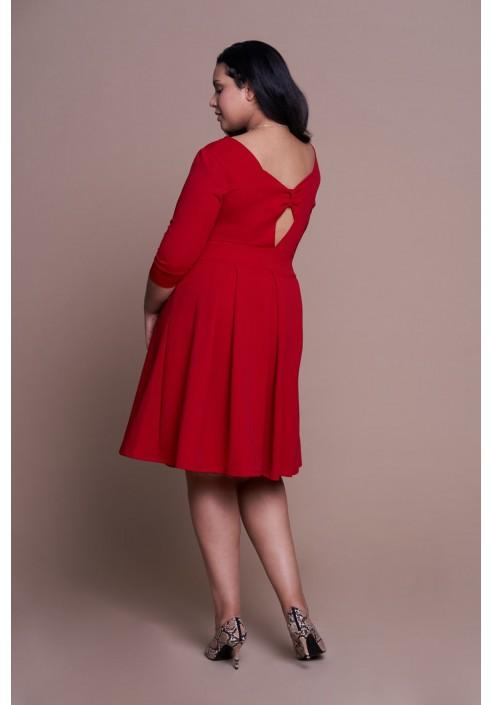 STACY RED romantycza sukienka plus size z kokardą