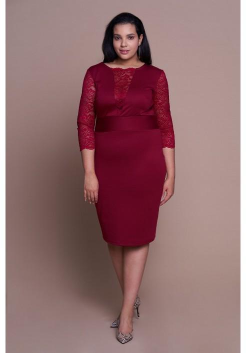 MEGAN WINE seksowna sukienka plus size z koronką